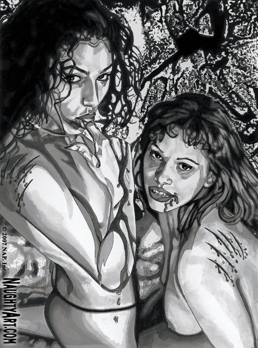 vampire art pinup. Bloodlust #4 - Ink on paper - 8